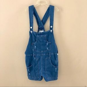 Levi's denim distressed overall shorts size L